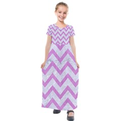Chevron9 White Marble & Purple Colored Pencil (r) Kids  Short Sleeve Maxi Dress