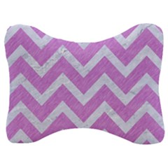 Chevron9 White Marble & Purple Colored Pencil Velour Seat Head Rest Cushion by trendistuff