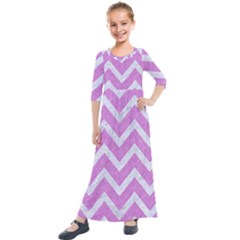 Chevron9 White Marble & Purple Colored Pencil Kids  Quarter Sleeve Maxi Dress