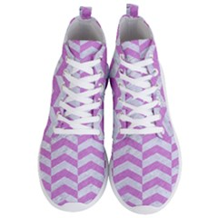 Chevron2 White Marble & Purple Colored Pencil Men s Lightweight High Top Sneakers