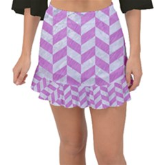 Chevron1 White Marble & Purple Colored Pencil Fishtail Mini Chiffon Skirt