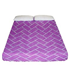 Brick2 White Marble & Purple Colored Pencil Fitted Sheet (queen Size) by trendistuff