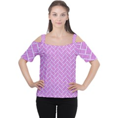 Brick2 White Marble & Purple Colored Pencil Cutout Shoulder Tee by trendistuff