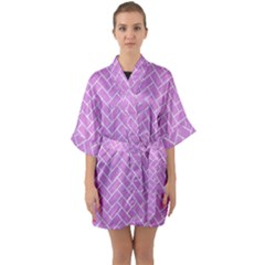 Brick2 White Marble & Purple Colored Pencil Quarter Sleeve Kimono Robe