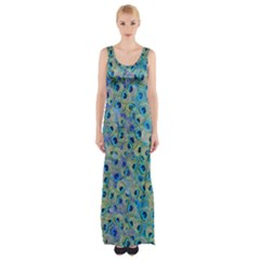 Peacock Feathers Maxi Thigh Split Dress by ChihuahuaShower