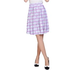 Brick1 White Marble & Purple Colored Pencil (r) A Line Skirt