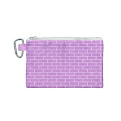Brick1 White Marble & Purple Colored Pencil Canvas Cosmetic Bag (small) by trendistuff