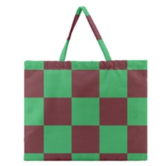 Background Checkers Squares Tile Zipper Large Tote Bag