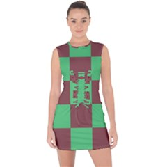 Background Checkers Squares Tile Lace Up Front Bodycon Dress