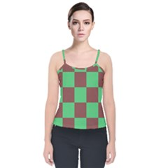 Background Checkers Squares Tile Velvet Spaghetti Strap Top