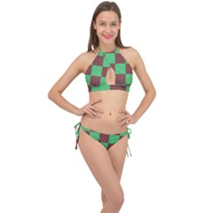 Background Checkers Squares Tile Cross Front Halter Bikini Set