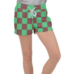 Background Checkers Squares Tile Women s Velour Lounge Shorts