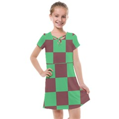 Background Checkers Squares Tile Kids  Cross Web Dress