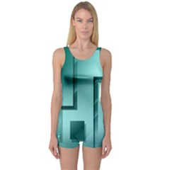 Green Figures Rectangles Squares Mirror One Piece Boyleg Swimsuit