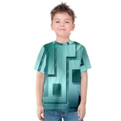 Green Figures Rectangles Squares Mirror Kids  Cotton Tee