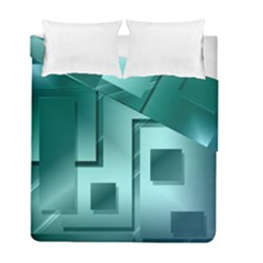 Green Figures Rectangles Squares Mirror Duvet Cover Double Side (full/ Double Size) by Sapixe