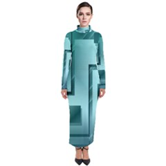 Green Figures Rectangles Squares Mirror Turtleneck Maxi Dress