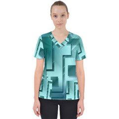 Green Figures Rectangles Squares Mirror Scrub Top