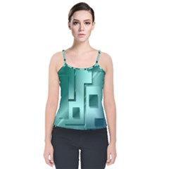 Green Figures Rectangles Squares Mirror Velvet Spaghetti Strap Top