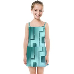 Green Figures Rectangles Squares Mirror Kids Summer Sun Dress
