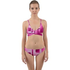 Pink Figures Rectangles Squares Mirror Wrap Around Bikini Set