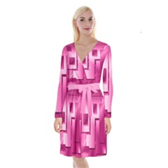 Pink Figures Rectangles Squares Mirror Long Sleeve Velvet Front Wrap Dress