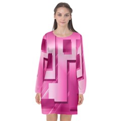 Pink Figures Rectangles Squares Mirror Long Sleeve Chiffon Shift Dress