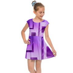 Purple Figures Rectangles Geometry Squares Kids Cap Sleeve Dress
