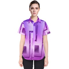 Purple Figures Rectangles Geometry Squares Women s Short Sleeve Shirt by Sapixe