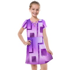 Purple Figures Rectangles Geometry Squares Kids  Cross Web Dress