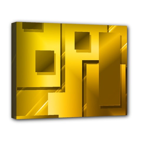 Yellow Gold Figures Rectangles Squares Mirror Deluxe Canvas 20  X 16