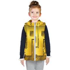 Yellow Gold Figures Rectangles Squares Mirror Kid s Hooded Puffer Vest