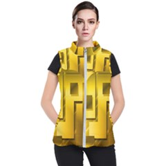 Yellow Gold Figures Rectangles Squares Mirror Women s Puffer Vest
