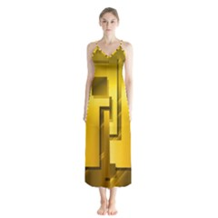 Yellow Gold Figures Rectangles Squares Mirror Button Up Chiffon Maxi Dress