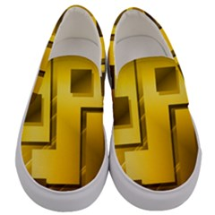 Yellow Gold Figures Rectangles Squares Mirror Men s Canvas Slip Ons