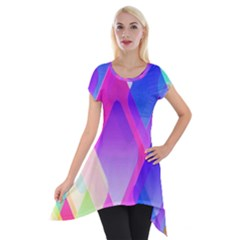 Squares Color Squares Background Short Sleeve Side Drop Tunic
