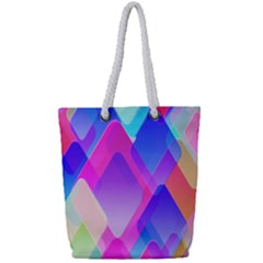 Squares Color Squares Background Full Print Rope Handle Tote (small) by Sapixe