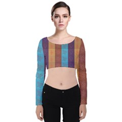 Background Desktop Squares Velvet Crop Top