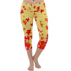 Leaves Autumn Maple Drop Listopad Capri Yoga Leggings by Sapixe