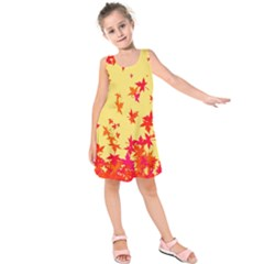 Leaves Autumn Maple Drop Listopad Kids  Sleeveless Dress by Sapixe