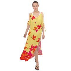 Leaves Autumn Maple Drop Listopad Maxi Chiffon Cover Up Dress