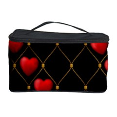 Background Texture Texture Hearts Cosmetic Storage Case by Sapixe