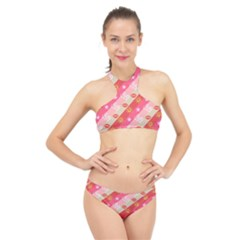 Background Desktop Pink Sun Stars High Neck Bikini Set