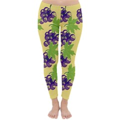 Grapes Background Sheet Leaves Classic Winter Leggings by Sapixe