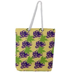 Grapes Background Sheet Leaves Full Print Rope Handle Tote (large)