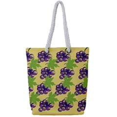 Grapes Background Sheet Leaves Full Print Rope Handle Tote (small)