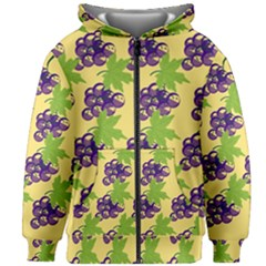 Grapes Background Sheet Leaves Kids Zipper Hoodie Without Drawstring