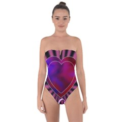 Background Texture Reason Heart Tie Back One Piece Swimsuit