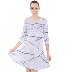 White Background Pattern Tile Quarter Sleeve Front Wrap Dress