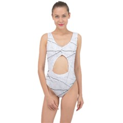 White Background Pattern Tile Center Cut Out Swimsuit